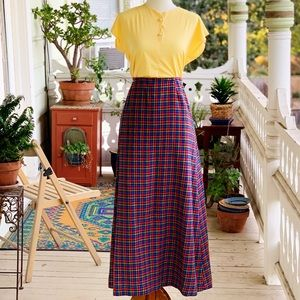 Vintage 60's Rainbow Houndstooth Wool Maxi Skirt